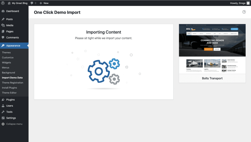 Importing content