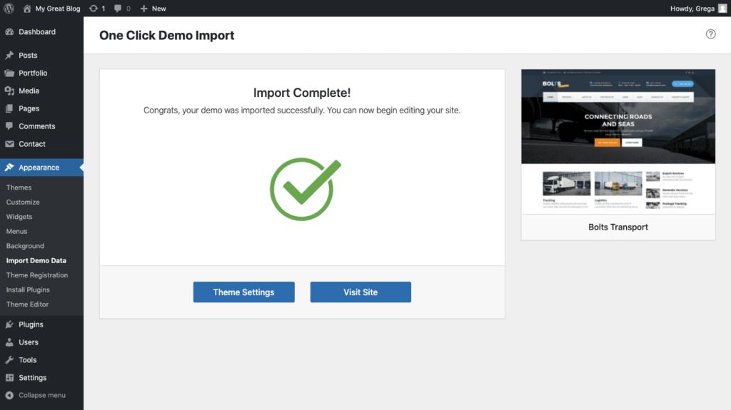 Successful import